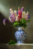 Still life with flowers lupine — Stock Photo