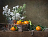 Christmas vintage still life with tangerines — Stock Photo