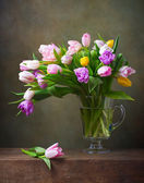 Still life with colorful tulips — Stock Photo