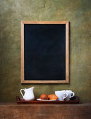 Cups and chalk board menu — Stock Photo