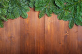 Fir branches on wooden boards — Stock Photo