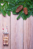 Fir branches and  Christmas decorations — Stock fotografie