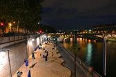 Paris- Seine River beach at night — Stock Photo