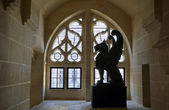 Winged lion statue in Pierrefonds castle — Stock Photo