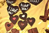 Valentine chocolate hearts — Stock Photo