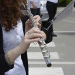 Playing transverse flute — Stock Photo