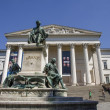 Stock Photo: Janos arany sculpture and national Museum in Budapest