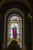 Stained glass window St Stephen Basilica — Stock Photo