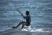 Kiteboarder girl — Stock Photo