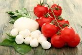 Tomato, mozzarella and basil. — Stock Photo