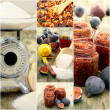 Stock Photo: Cooking jam figs. Collage.