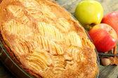 Alsatian apple pie closeup. — Stock Photo