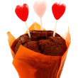 Chocolate cake and candles in the shape of heart. — Stock Photo