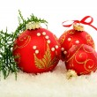 Christmas red balls on the snow. — Foto Stock