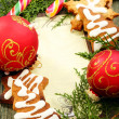 Royalty-Free Stock Photo: Christmas balls, gingerbread and candy cane.