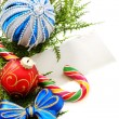 Snowflake, Christmas balls and greeting card. — Stock Photo
