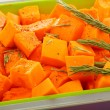 Slices of pumpkin in baking dish. - Stock Photo
