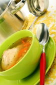 Soup in bowl, pan and ladle. — Stock Photo