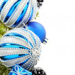 Christmas card with blue balls and cones. — Stock Photo