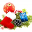 Stock Photo: Christmas toys and pine cone.