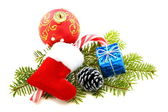 Christmas toys and pine cone. — Stock Photo