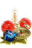 Hours, Christmas tree and red balls. — Stock Photo
