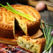 Stock Photo: Pie with egg and green onions.