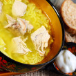 Thick soup with rice and meat closeup. — Stock Photo