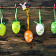 Easter eggs and feathers hanging on a rope. — Stock Photo
