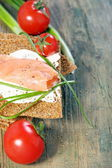 Toast the bread from grain and salmon. — Stock Photo