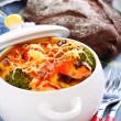 Stock Photo: Pasta and vegetables baked with cheese.