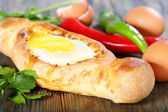 Pie with cheese and egg. Georgian cuisine. — Stock Photo