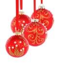Beautiful red Christmas balls. — Stock Photo
