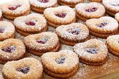 Linzer cookies with cherry jam. — Stock Photo