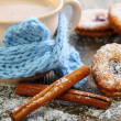 Стоковое фото: Cookies in form of heart, cinnamon and cocoa.