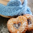 图库照片: Cocoand Linzer Cookie .