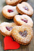 Linzer Cookie and red heart. — ストック写真