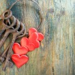 Stock Photo: Old keys and red heart.