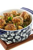 Meatballs in blue ceramic pot. — Stock Photo