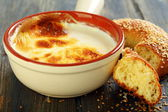 Homemade fermented baked milk and bagel. — Stock Photo