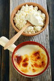 Homemade fermented baked milk and cottage cheese.  — Stock Photo