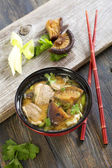 Miso soup with duck. — Stock Photo