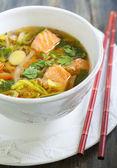 Miso soup with salmon. — Stock fotografie
