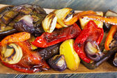 Grilled vegetables in wooden bowl. — Stock Photo
