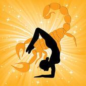Yoga akrep asana kadında — Stok Vektör
