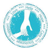 Hand of the child in father encouragement. Support moral. — Stock Vector