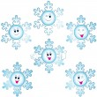 Stock Vector: Christmas snowflakes icon set