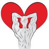 Corps de l'homme en forme de coeur pour la Saint-Valentin — Vecteur