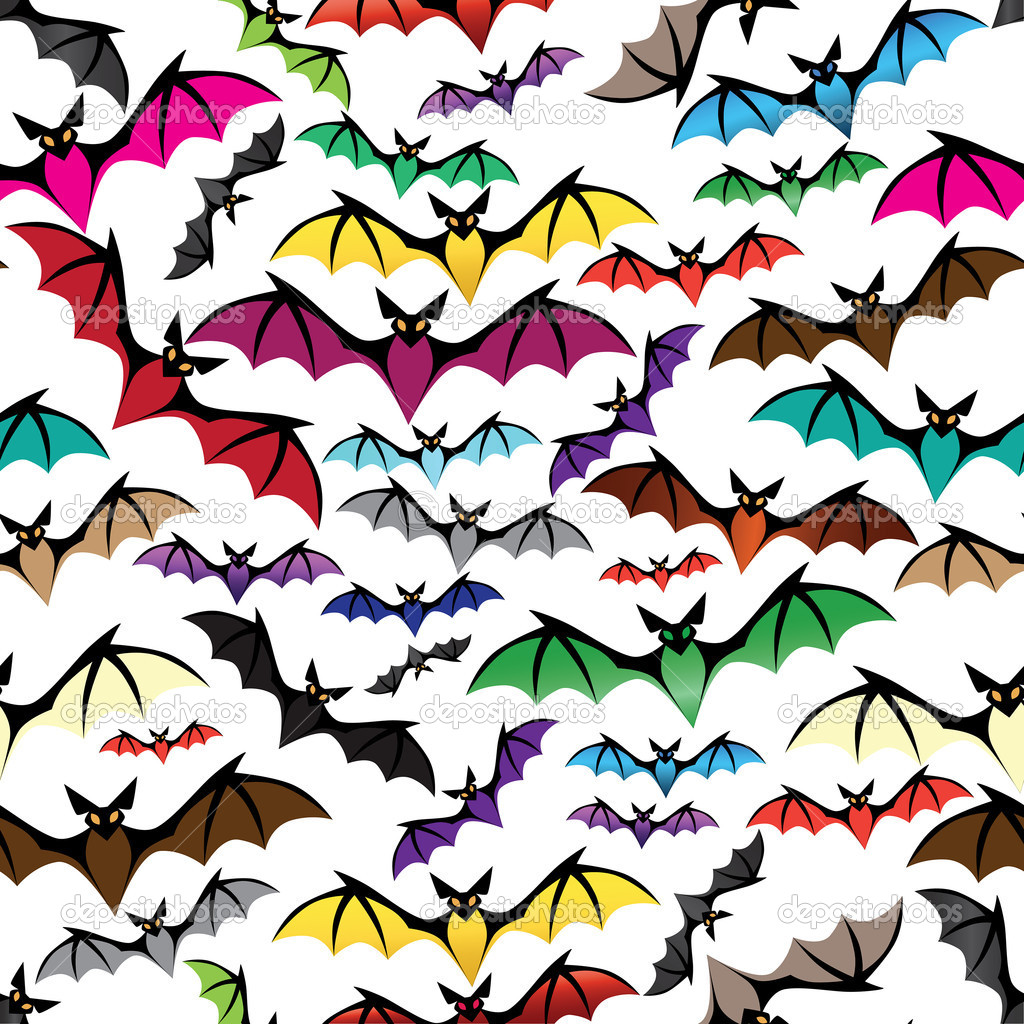 Halloween bat seamless pattern. Holiday vector. Isolated on white. — Vettoriali Stock  #16838069