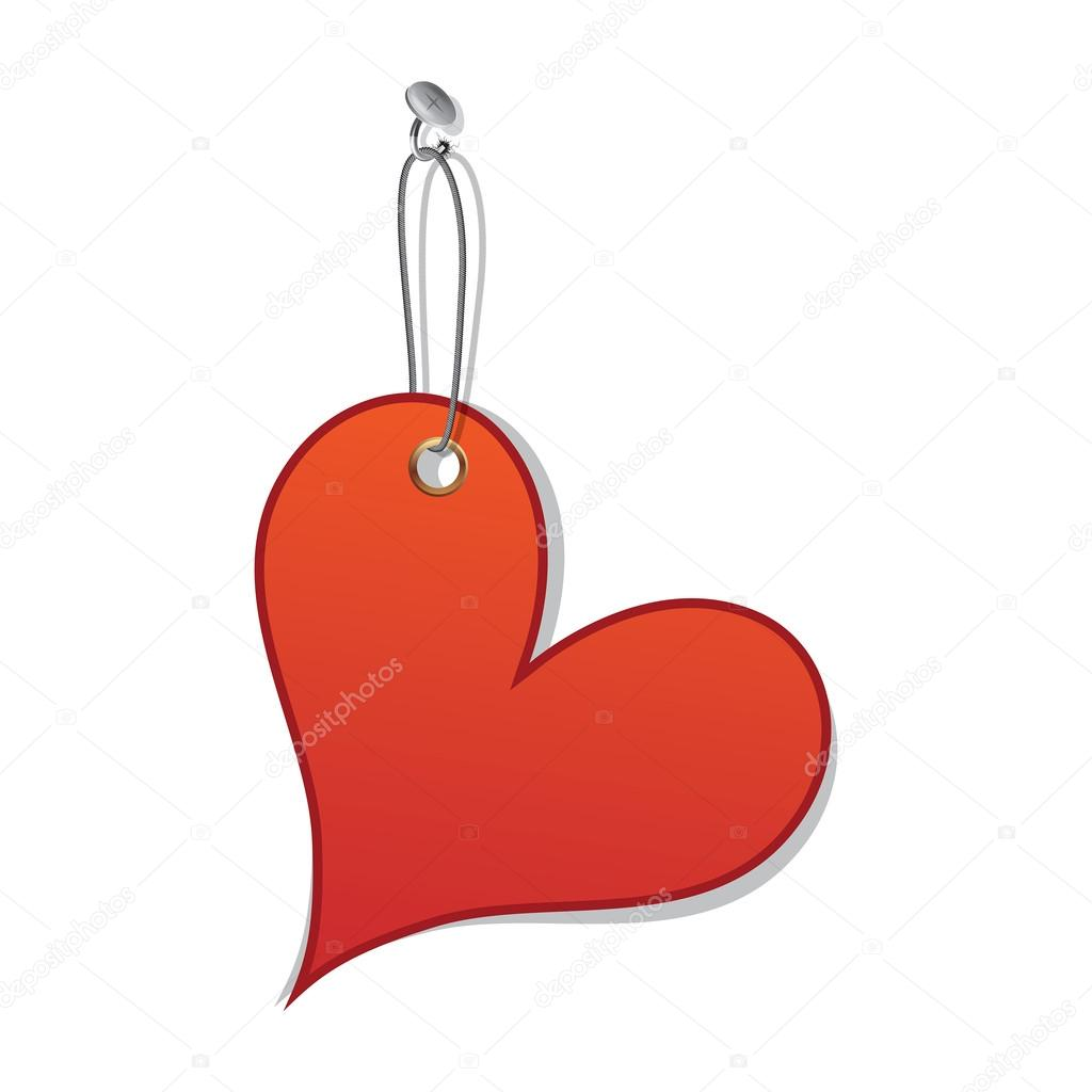 Heart love tag as valentine day symbol. Vector banner design label on tack in hole on wall. Isolated on white. — Stock Vector #16838075